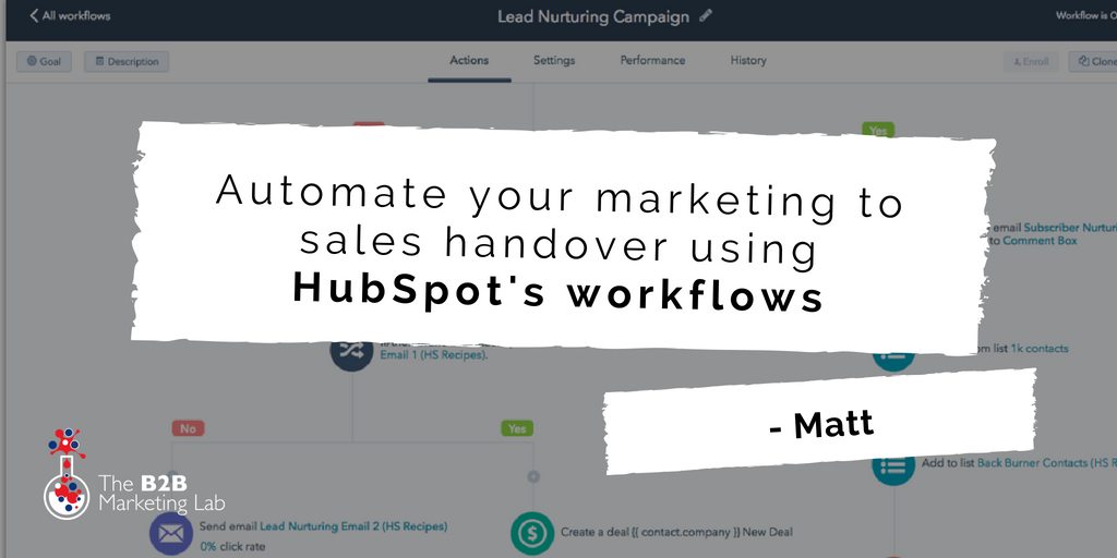 Automate your marketing to sales handover using HubSpot's workflows